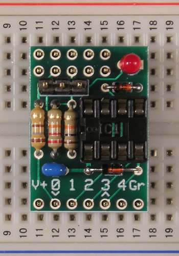 SIP-08 on breadboard, to be soldered